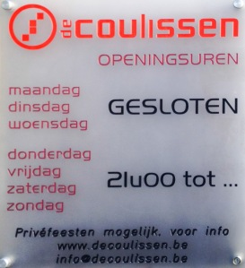 Bruges Club Opening Hours,de Coulissen