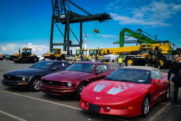 Top Down Trans Am and two mustangs at the Antwerp docks