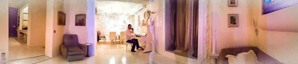 Playing a white piano in Sofia, Bulgaria